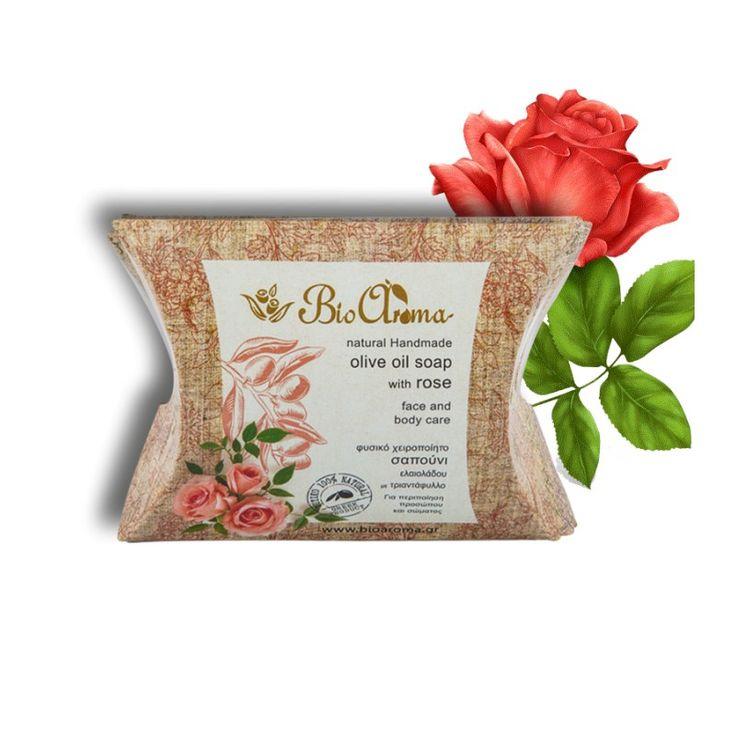 Handgemaakte Olijfolie zeep met rozengeur. Gezichtszeep