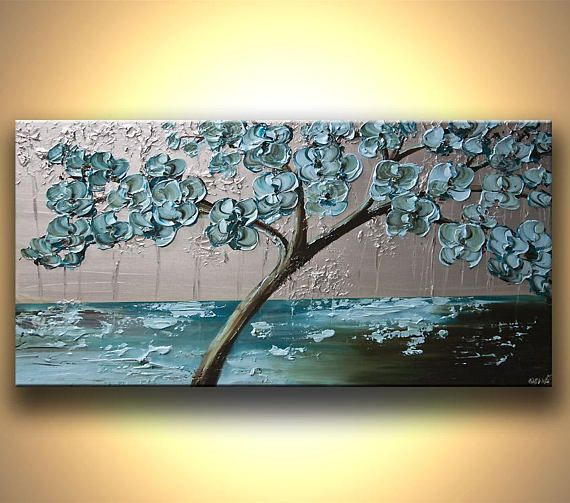 Canvas Art, Modern Wall Art, Stretched, Embellished & Ready-to-Hang Print – Flowering Tree – Art by Osnat