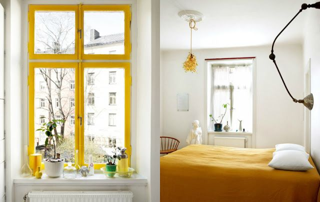 "Gult som solen-Norwegian (thanks Google Translate) for ""Yellow as the sun"".  This is a very cheerful room!"