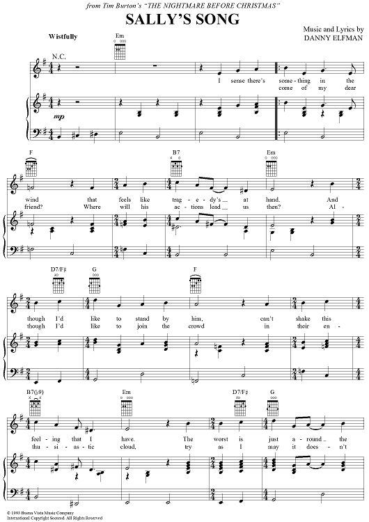 Sally's Song Sheet Music: www.onlinesheetmusic.com