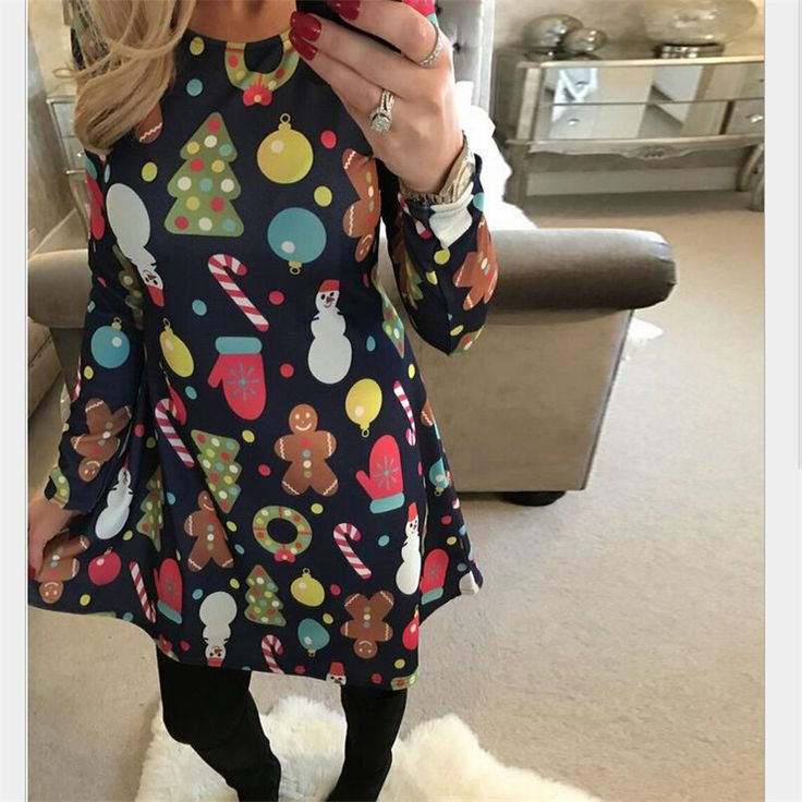 Cheap a-line dress, Buy Quality dress plus directly from China plus dress Suppliers: 4XL 5XL Big Size Casual Print Cartoon Christmas Tree Snowman Dress Autumn Winter A-Line Dresses 2017 Plus Size Women Clothing