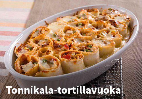 Tonnikala-tortillavuoka, resepti: Valio #kauppahalli24 #ruoka #resepti #tonnikala #tortilla