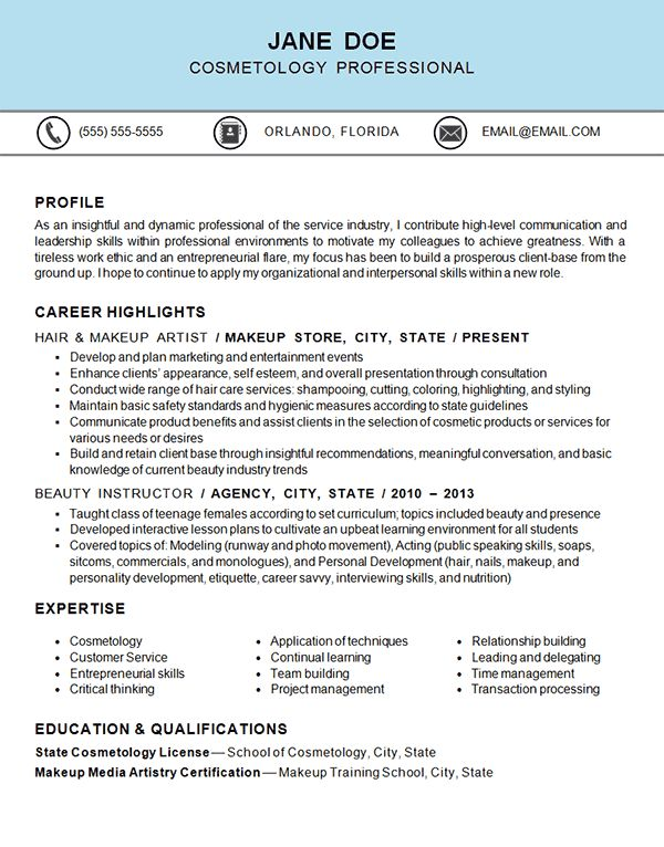 Cosmetology Resume Example - http://www.resume-resource.com/cosmetology-resume-example?utm_source=rss&utm_medium=sendible&utm_campaign=RSS #resume