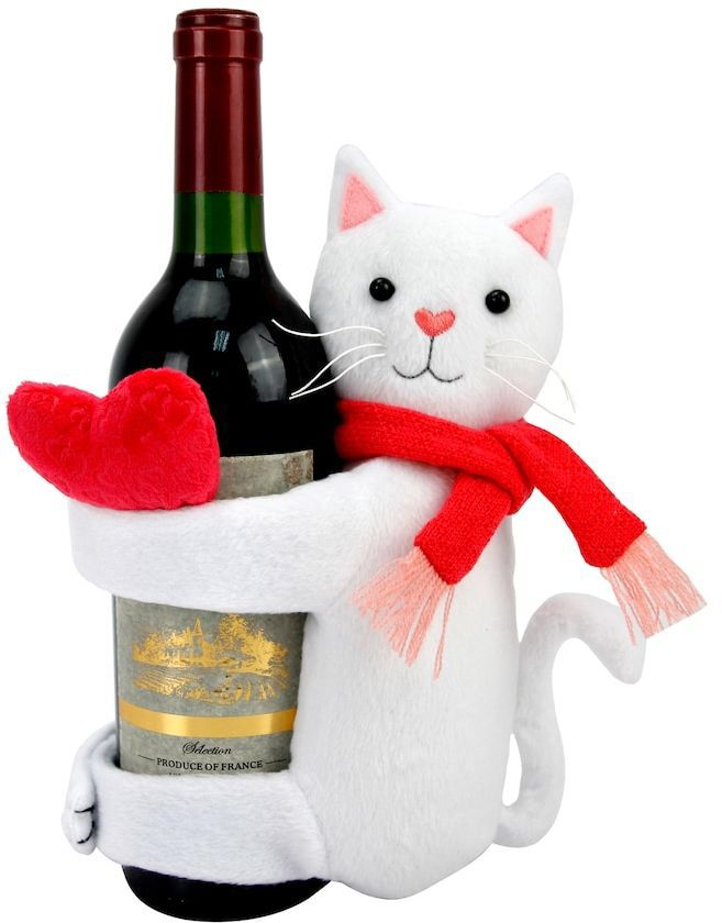 Celebrate Valentine's Day Together Cat Wine Hugger #ad #white #red