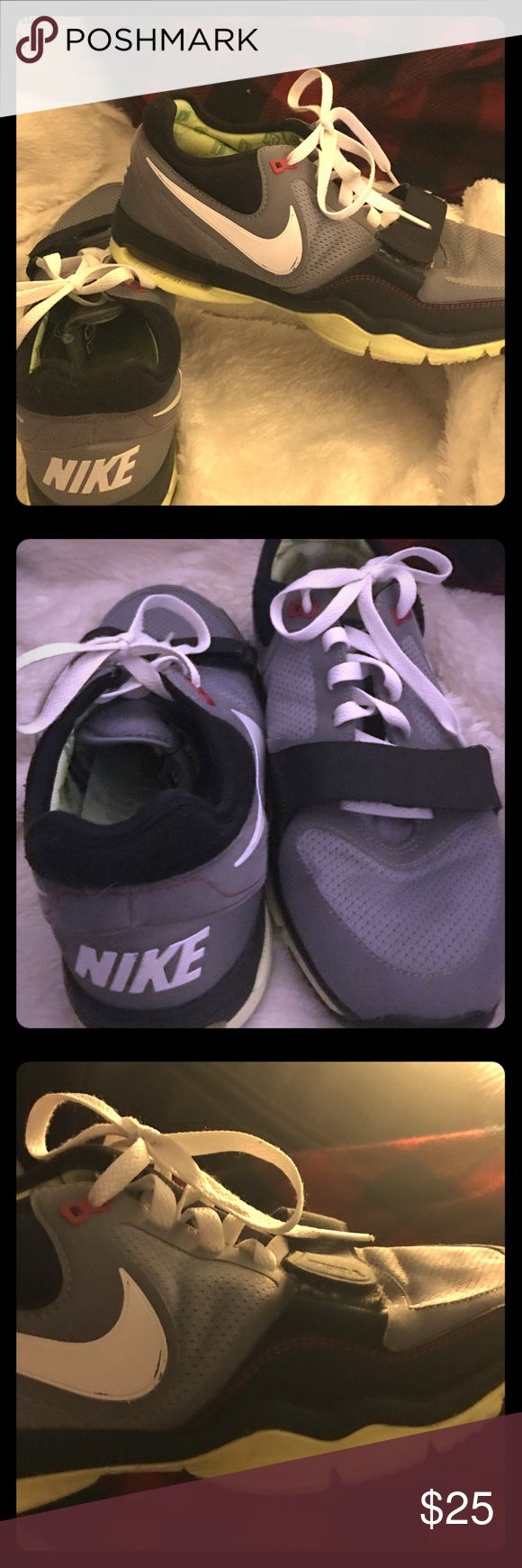 Nike Trainer One - Women's 9 These shoes are super comfy and feel great on! They are black, grey, white and a light neon yellow. They look even better on and super cute with jeans! Too many pairs of shoes so trying to downsize! Nike Shoes Athletic Shoes