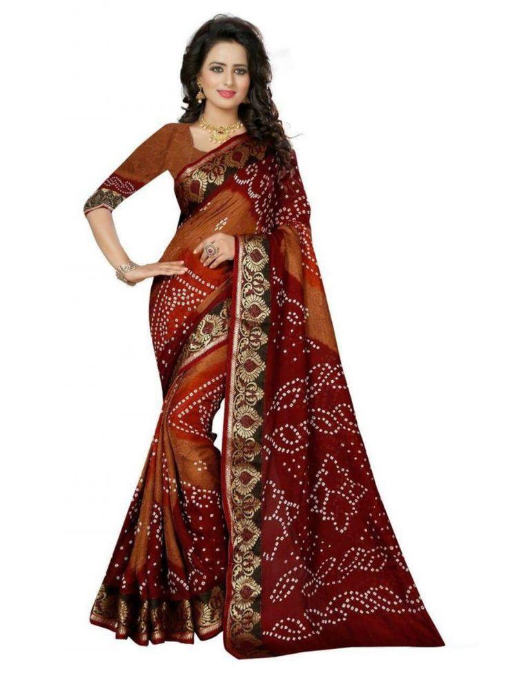 Maroon Color Bandhani Saree- Indiana Lifestyle Online Shopping