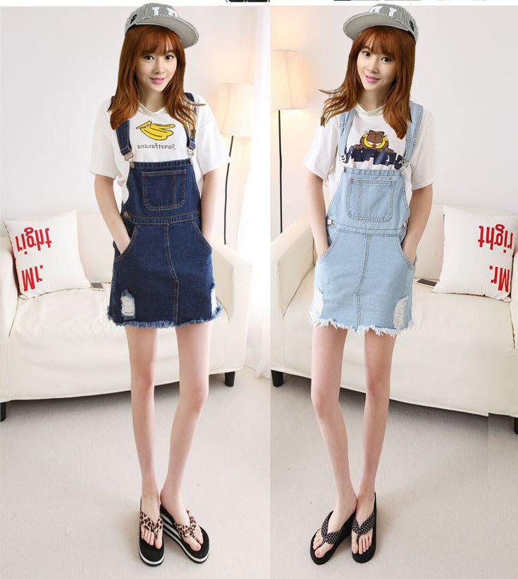 Cheap Moda para mujer linda Jeans Vintage faldas con correa de liga de la Mini…