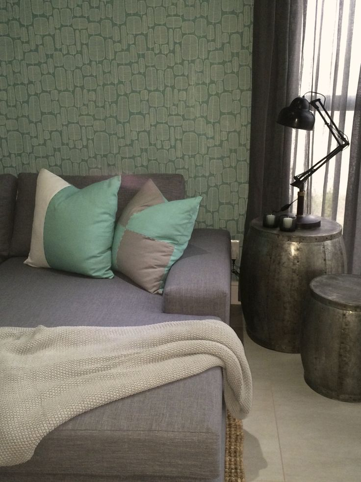 Kids TV lounge with fresh aqua and grey colour scheme