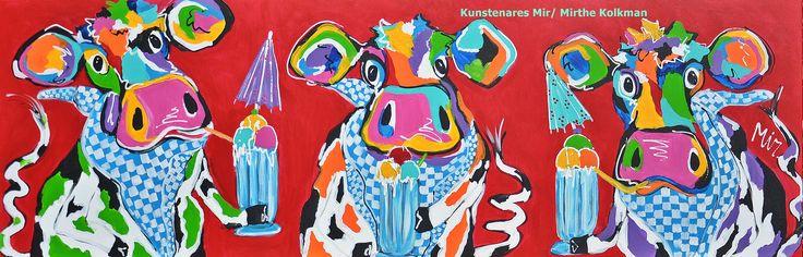Veelzijdig kleurrijk kunstenares Mir/ Mirthe Kolkman waaronder koeienschilderes. koe kleurrijke koe koeienkunst kleurrijk kunstwerk koe in de wei hollandse koe gezellige vrolijke koe koeienkop cows from holland  kunst art cowpainting koeienschilderij koeien schilderen dierenschilderij kalfjes bloemen hartjes grappige koeien  dutch cows cowartist ijsjes ice cream