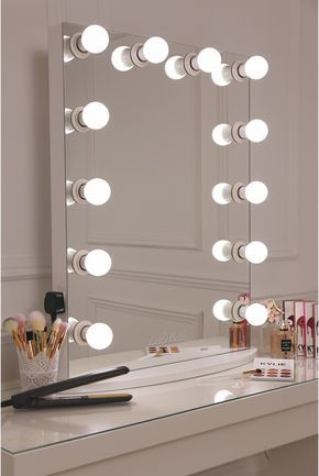 LULLABELLZ Hollywood Glow Vanity Mirror LED Bulbs. This is our XL pro Hollywood mirror which features a sleek white design with 12 LED frosted light bulbs. This mirror also detatches from its base and features hanging accessories so it can be hung on your wall too.