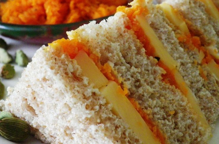 Edam cheese with Carrot Chutney... Makes 4 small tea sandwiches...