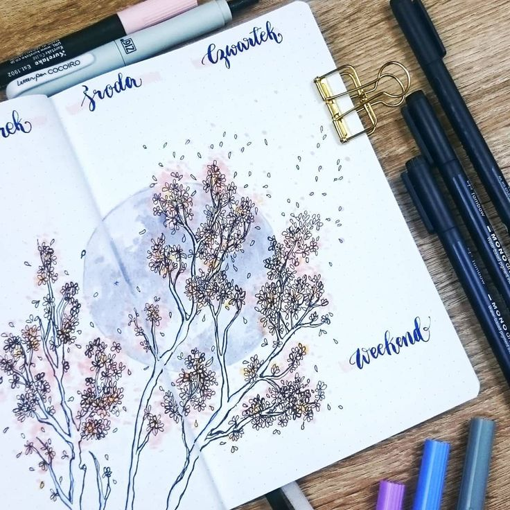 Bullet journal weekly layout, hand lettering, blossoming tree drawing. | @devangari.art