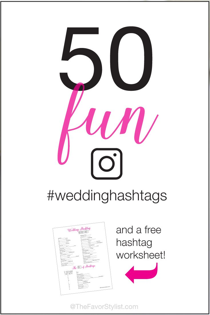 Coming up with that original wedding hashtag isn't as easy as it used to be. Forget the hashtag generators and try on these 50 fun wedding hashtag ideas! Make sure to click for your free hashtag worksheet and make it even easier to create that one-of-a-kind moniker!