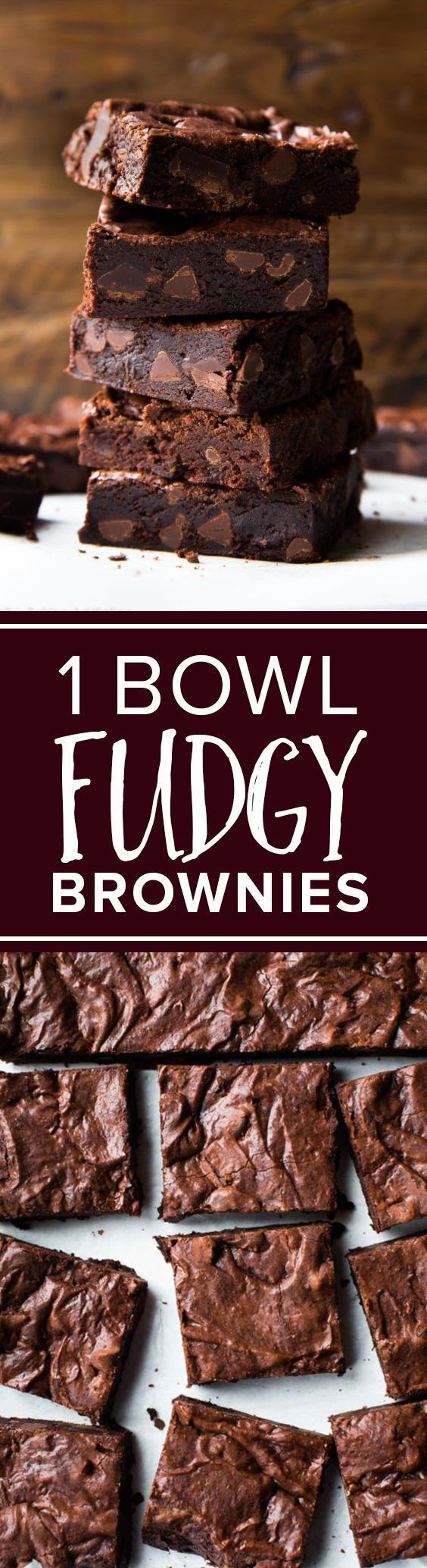 You only need 1 bowl for these SERIOUSLY fudgy super fudge homemade brownies! Recipe http://sallysbakingaddiction.com/2016/12/06/seriously-fudgy-homemade-brownies/