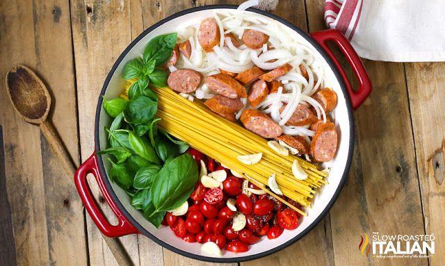 http://www.theslowroasteditalian.com/2014/03/one-pot-cheesy-pasta-and-sausage-recipe.html