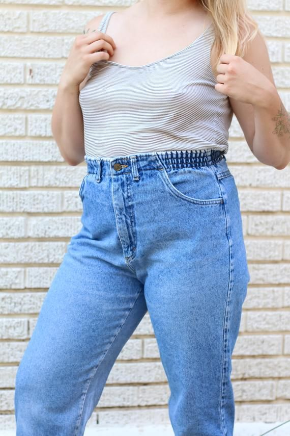 80s 90s Lee Elastic Waist Mom Jeans Size 31 Vintage Ultra Etsy Outfits