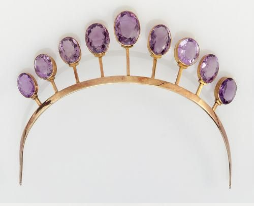 AMETHYST TIARA, CIRCA 1900, THE GRADUATED LINE OF OVAL MIXED-CUT AMETHYSTS SUPPORTED...