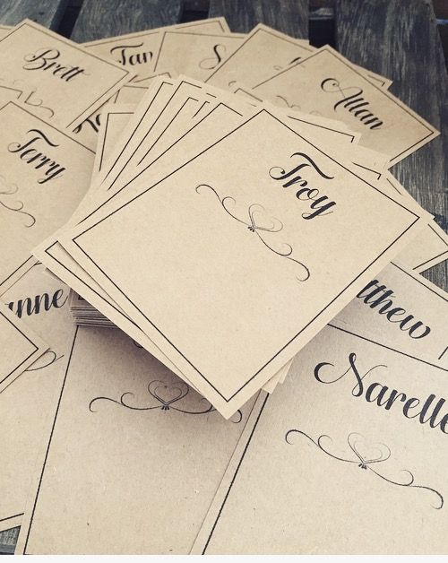 RUSTIC TABLE seating cards