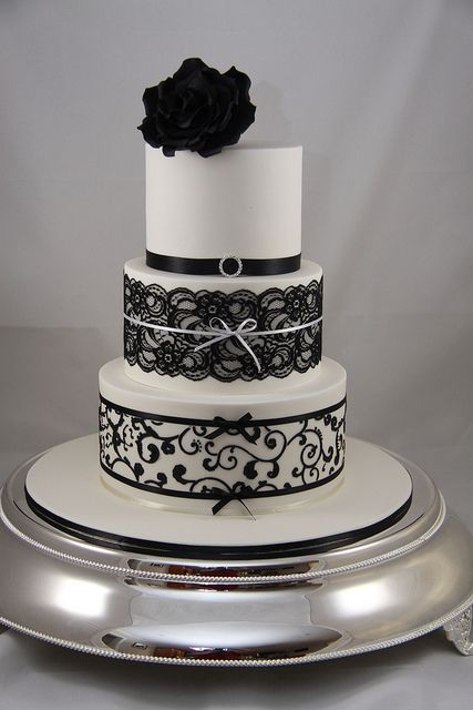 Black and White Lace and Piping Wedding Cake by Effie Valavanis