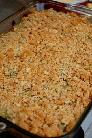 Broccoli Casserole. 4 packages of frozen, chopped broccoli, 1 small block velveta, 1 stick butter, 1 sleeve ritz crackers. cook broccoli, drain, cube velveta, place broccoli & cheese in casserole, top with crushed crackers, drizzle melted butter, bake 350 til bubbly. Yummy! by nell