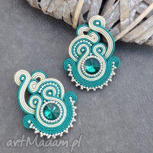 Kolczyki sutasz w kolorze emerald - sutasz, kolczyki, soutache, eleganckie