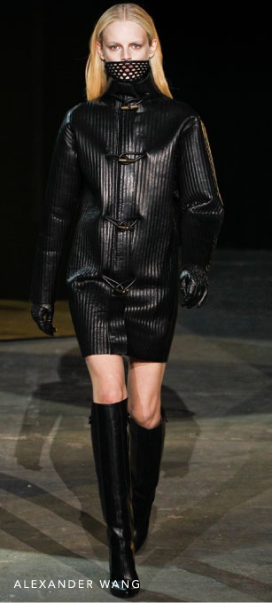 An alternative all-black look that dominated the runways has a tough, powerful persona. Leather is the fabric of choice, from second-skin pants to oversized jackets and sky-high heels. The dominatrix is all about confidence and control - personified by architectural silhouettes and strong lines. Don't be afraid of mixing in a dash of contrasting colour to emphasise the slick textures of the neo-noir.
