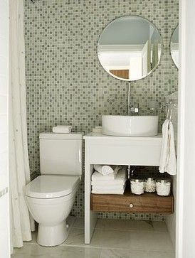 small space bathroom. No Excuses  Stylish Organized Small Space Bathrooms console style sink vanity and all tile wall behind the 14 best small bathroom ideas for The Shearing Shed images on