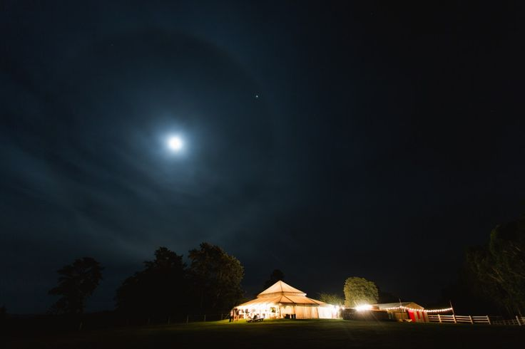 night photograph of teepee at hunter valley wedding venue wallalong house