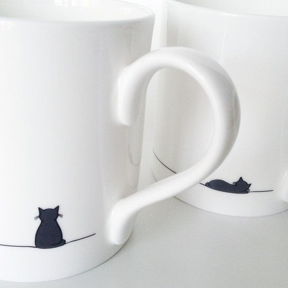 Sitting Cat and Sleeping Cat Mug  Set of Two by JinDesignsShop, £22.00