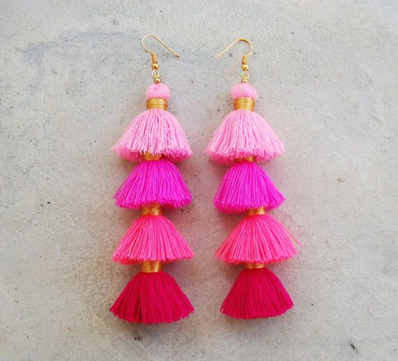 Four Layered Ombre Pink Mini Tassel Earrings by SiamHillTribes