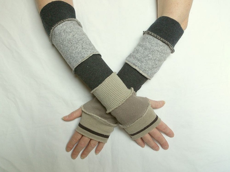Beige Grey Black Arm Warmers Fingerless Gloves Mittens Upcycled Sweaters Eco Friendly Funky Style Winter Fashion Recycled Clothing