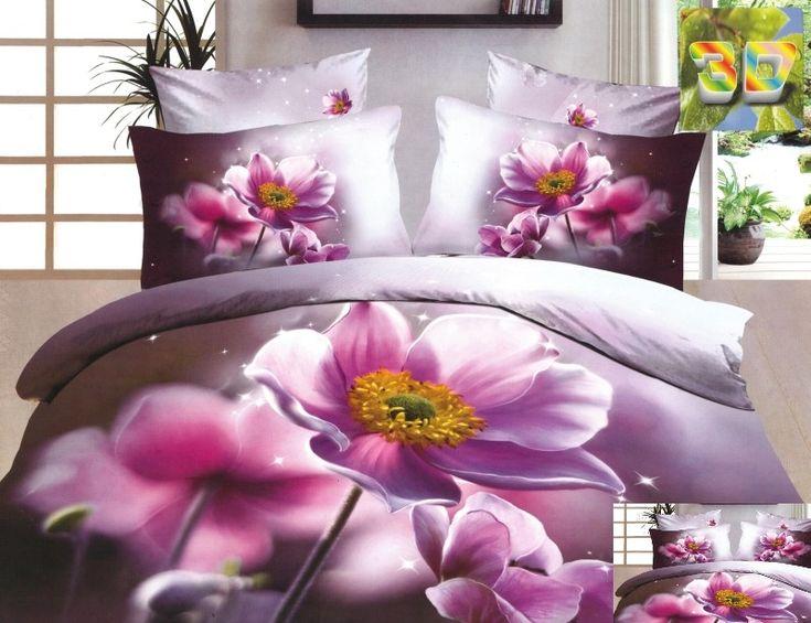 Różowe kwiaty pościel wrzosowa bawełniano satynowa do sypialni