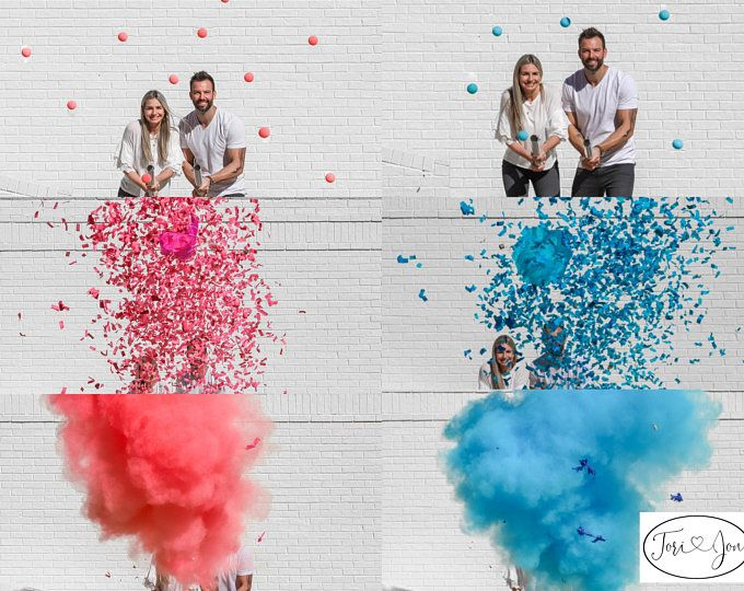24 Powder Confetti Cannons Gender Reveal Both Smoke Etsy Gender Reveal Baby Gender Reveal Party Confetti Cannon Gender Reveal