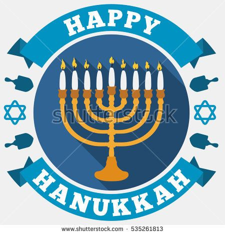 Poster in flat style and long shadow for Hanukkah with a chanukah with white candles, greeting ribbons around, David's stars and dreidels silhouettes.