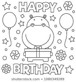 Coloring page. Vector illustration. | Happy birthday ...