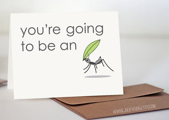 Pregnancy Announcement Card   You're Going to Be an Ant