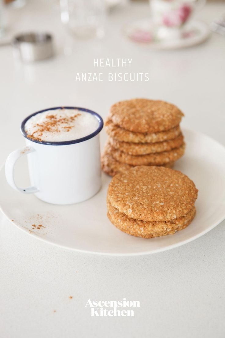 These Healthy ANZAC Biscuits are dairy and refined sugar free. Made with gluten free whole grain flours and oats.