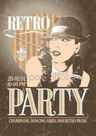 Скачать - Ретро вечеринка плакат с старомодный курящая — стоковая иллюстрация #40030111