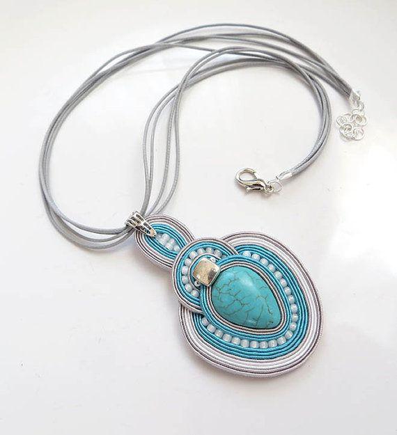 Bohemian necklace soutache OOAK soutache pendant by sutaszula