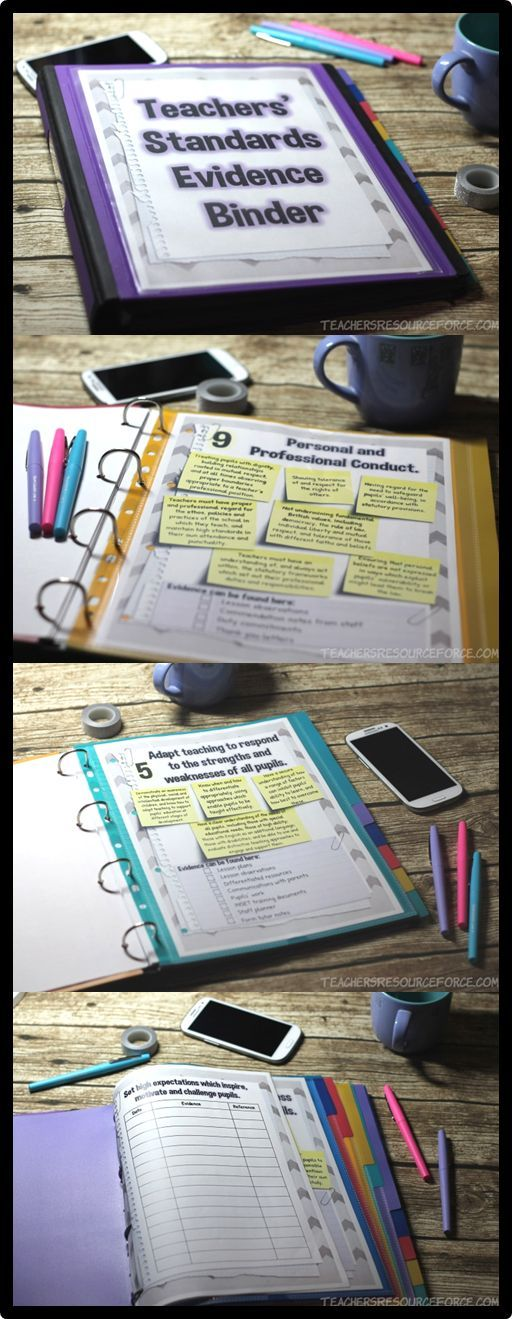 Teachers' Standards Evidence Binder (UK)  With this 20 page binder, you can