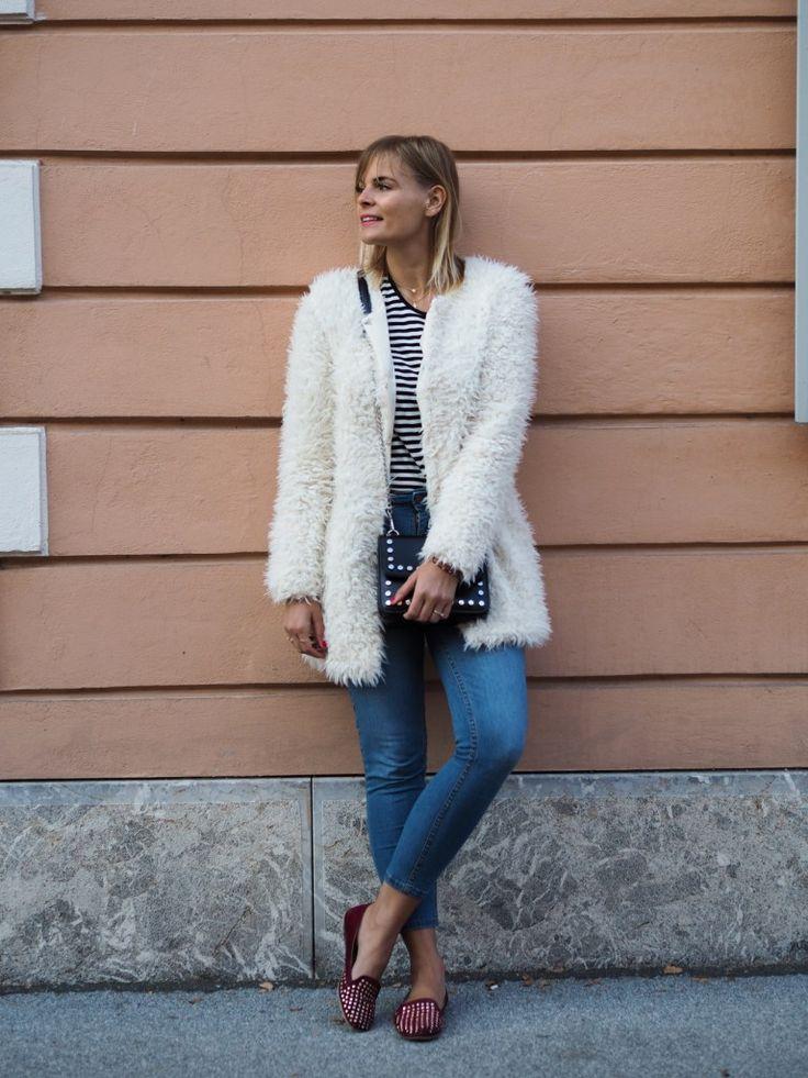 Kuschelig, teddy coat, fake fur jacke, felljacke, skinny jeans, ballerinas, streifen shirt, streetstyle, herbstlook, lakatyfox, fashionblogger