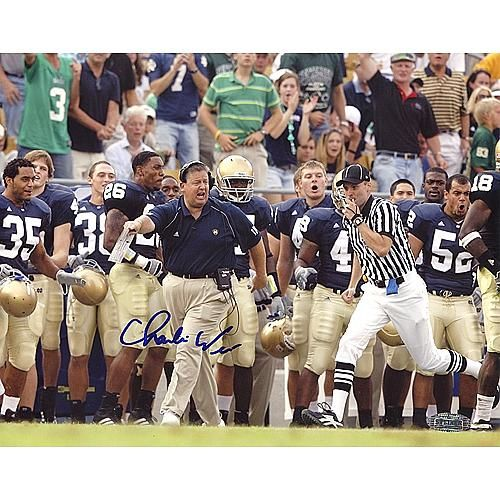 "Steiner Sports Charlie Weis Yelling with Team in Background Autographed 8"" x 10"" Photo"