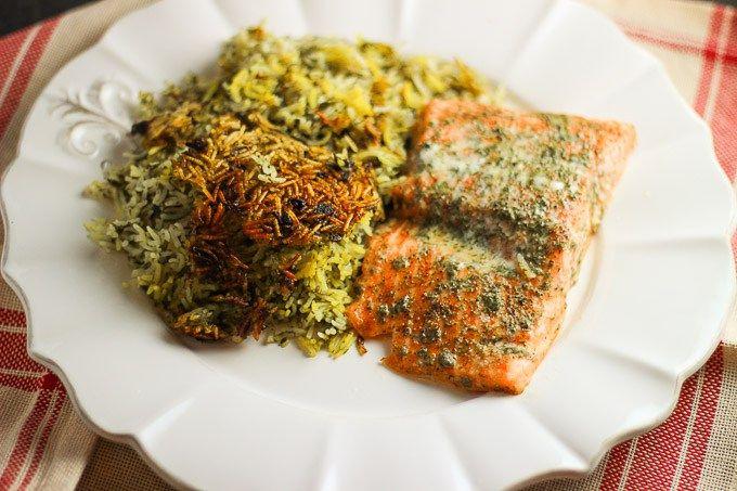 Herbed Rice with Salmon (Sabzi Polo baa Maahi) // Persian food