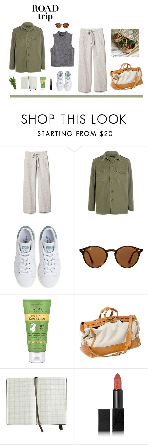 """""""road trip - farm country"""" by moogtoast ❤ liked on Polyvore featuring Gap, H&M, Equipment, adidas, Ray-Ban, Babo Botanicals, J.Crew, Moleskine, NARS Cosmetics and country"""