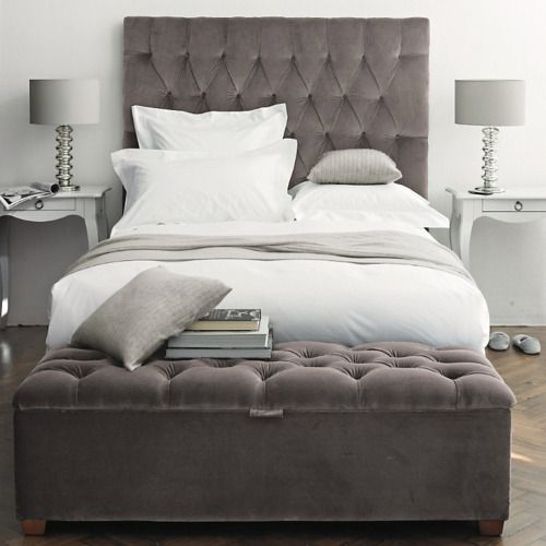 Best Velvit Diamond Tufted Head Board And Matching Storage 400 x 300