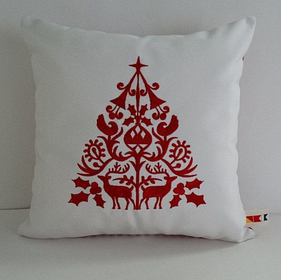 SCANDINAVIAN CHRISTMAS TREE embroidered pillow by OBACanvasCo