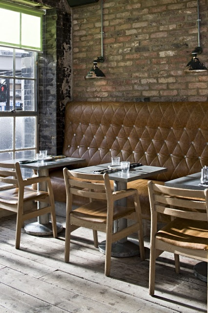 Pizza East | London Tufted Benches, Brick wall, Pendant Lamps, Cute Setup