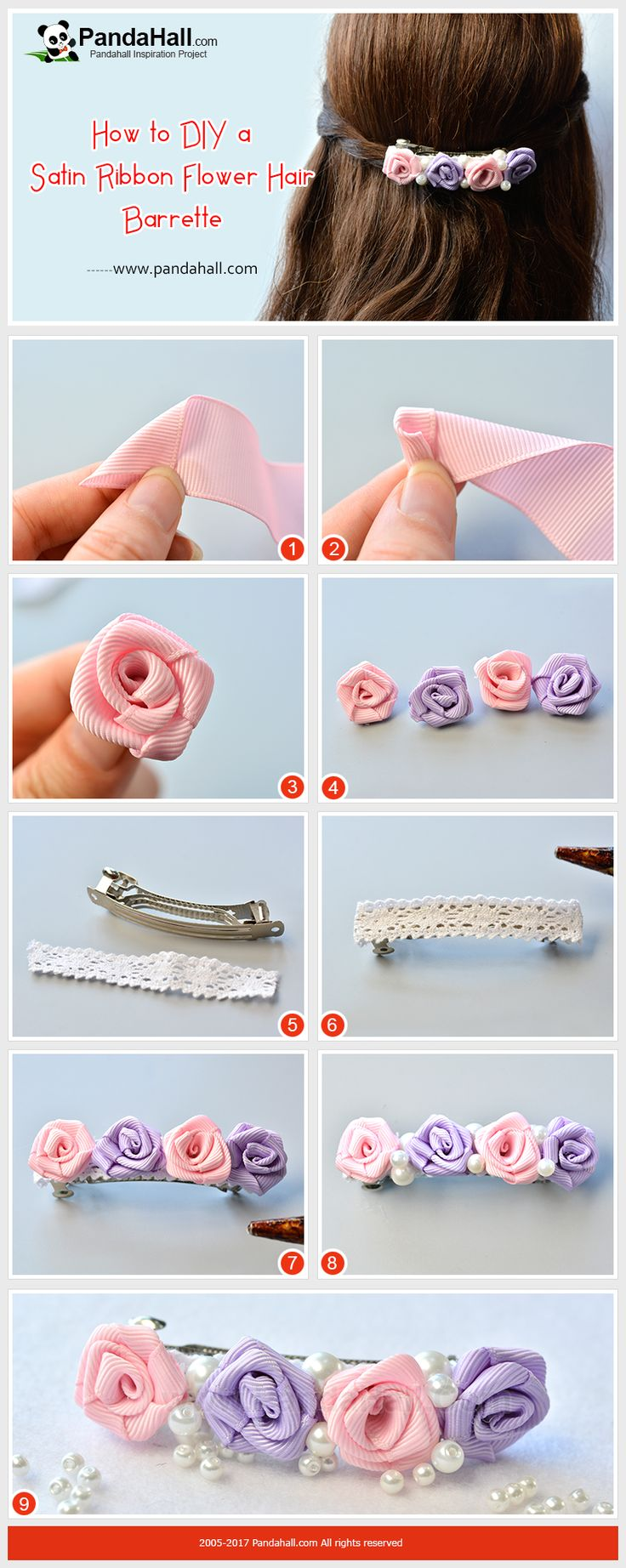 How to make Satin Ribbon Flower Hair Barrette With satin ribbons and some glass pearl beads, a hair barrette can be easily made in 6 minutes.