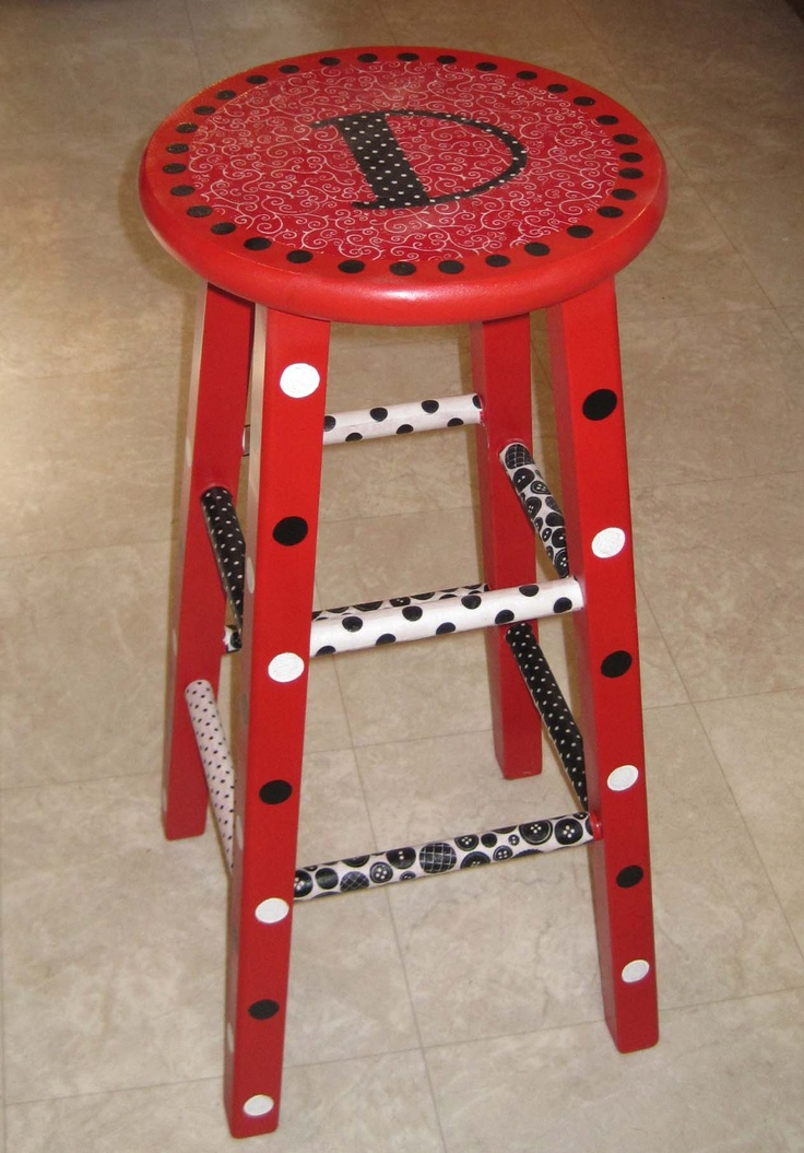 Hooty's Homeroom: Painted Teacher Stool Gotta update mine, love the different theme on each peg