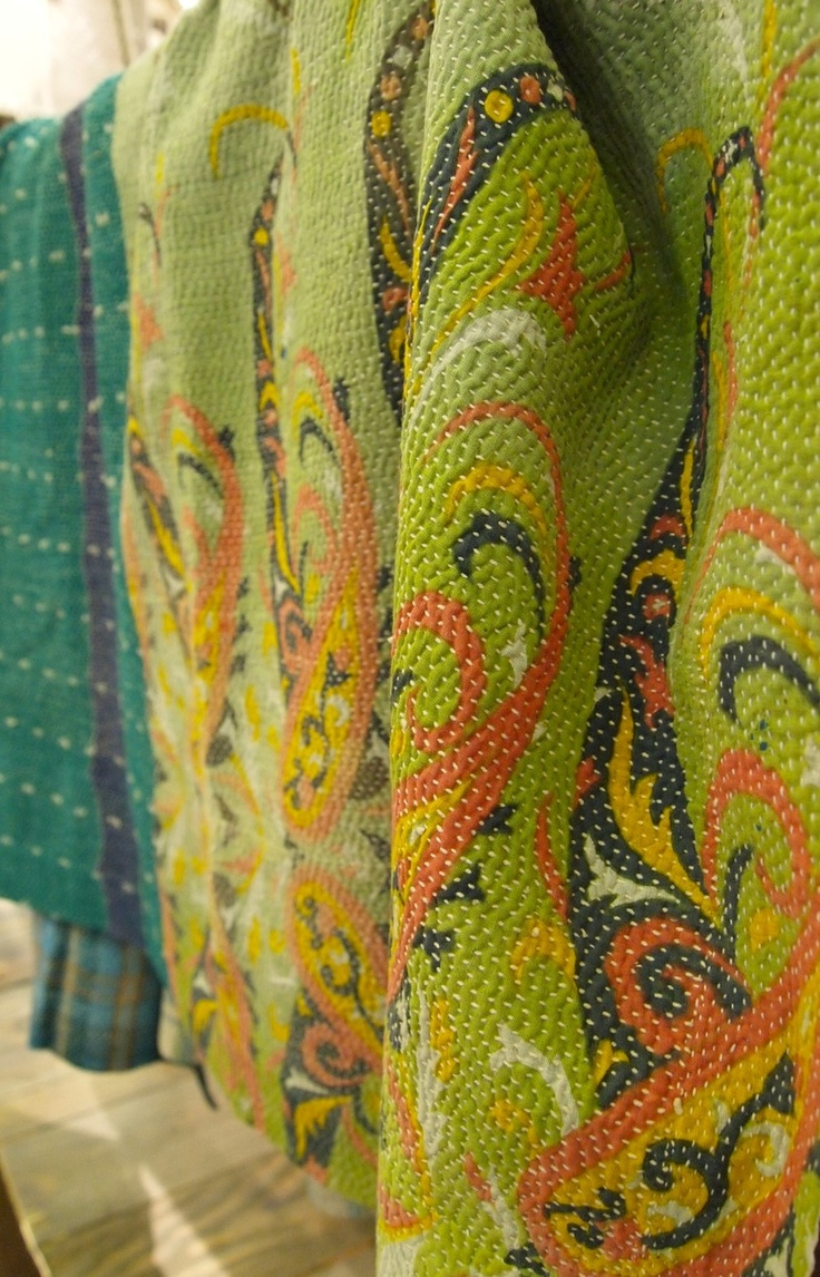 Indian kantha quilts pieced together from old saris